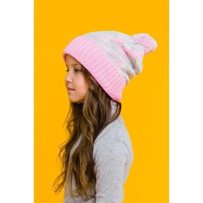 """Шапка двойная для девочки """"Зайка моя"""", размер 50-52, цвет светло-серый меланж/розовый кс116   202312"""