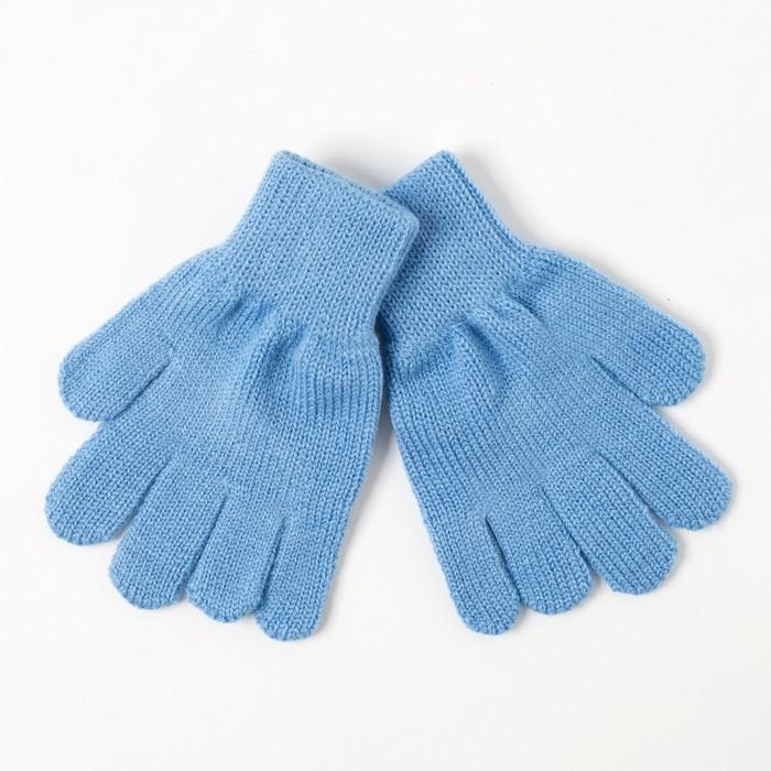 Перчатки одинарные для девочки, размер 14, цвет голубой 6с177