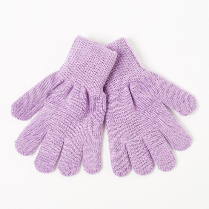 Перчатки одинарные для девочки, размер 14, цвет сиреневый 6с177