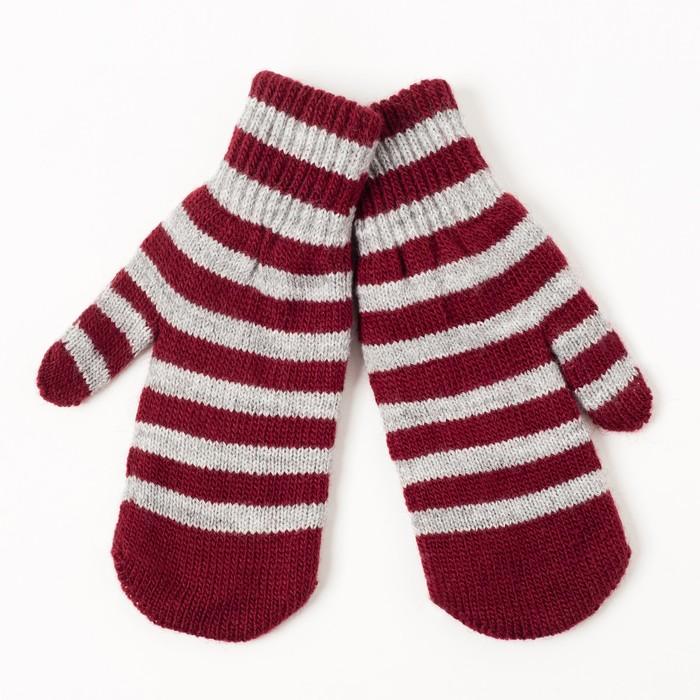 Варежки двойные для мальчика, размер 14, цвет серый меланж/бордовый 2с229