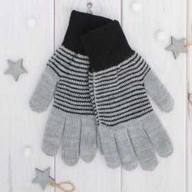 "Перчатки двойные для мальчика ""Анжу"", размер 17, цвет серый меланж/чёрный 3с239"