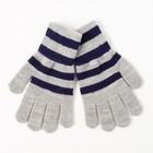 """Перчатки одинарные для мальчика Полоска"""", размер 17, цвет серый меланж/синий 6с177"""