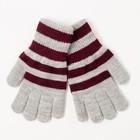 Перчатки одинарные для мальчика, размер 18, цвет серый меланж/бордовый 6с177