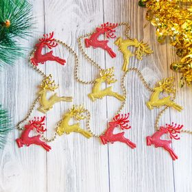"""The beads on the Christmas tree 100 cm """"Deer"""" red, gold"""