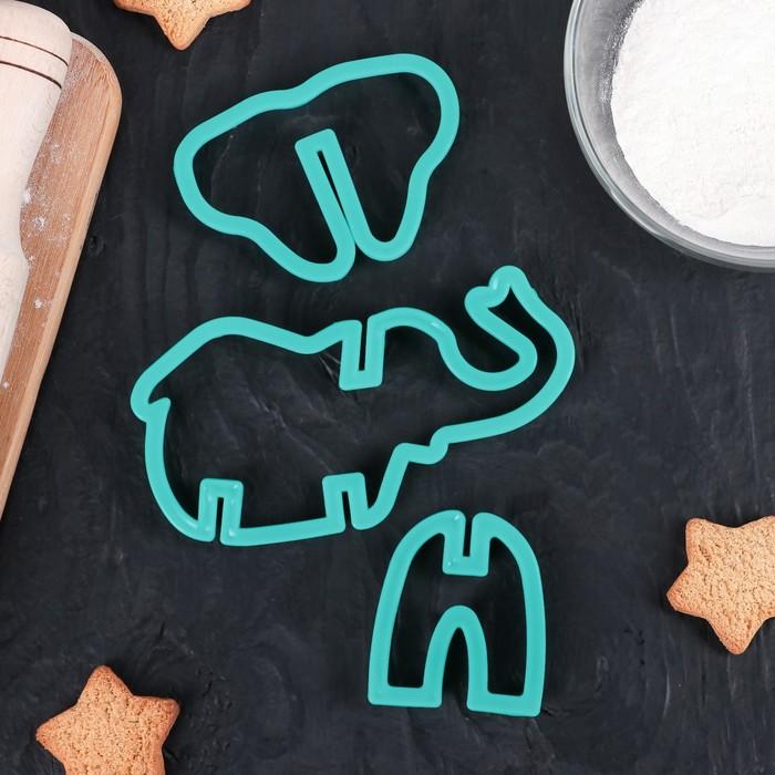 """Набор форм для вырезания печенья 3D """"Слон"""", 3 шт - фото 308034415"""