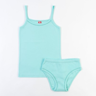 Комплект для девочки (майка, трусы), рост 134 см, цвет светло-бирюзовый