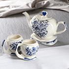 """Набор чайный """"Сердце"""", чайник, 2 кружки, гжель"""