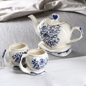 """Чайный набор """"Сердце"""", роспись, 3 предмета: чайник 1.35 л, 2 кружки"""