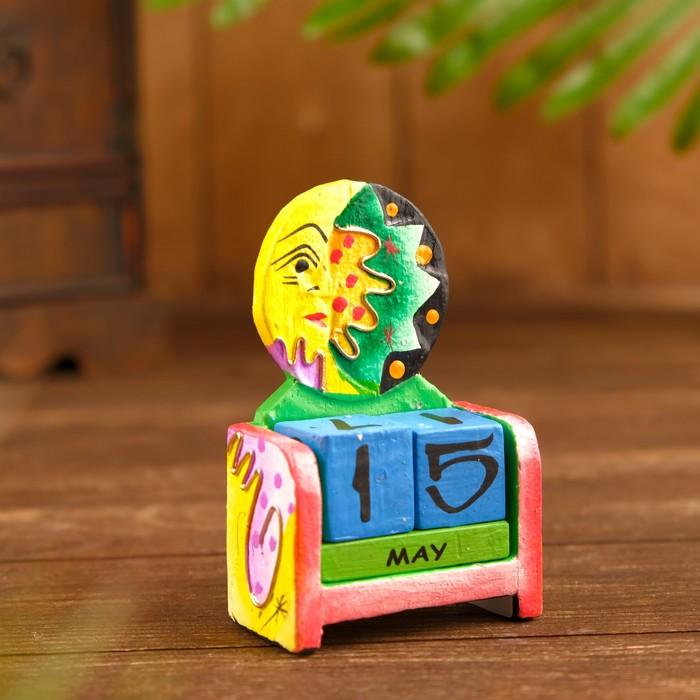 """Календарь настольный дерево """"Солнце и луна"""" 11х7х3,5 см"""