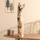 """Сувенир дерево """"Кошка с бабочкой и бантом из мозаики"""" белая 60х12х6 см"""