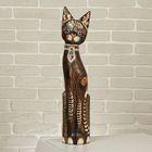"""Сувенир дерево """"Кошка в галстуке из мозаики"""" 60х12х6 см"""