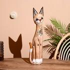 """Сувенир дерево """"Кошка в золотом ошейнике и с черепашкой"""" 60х12х6 см"""