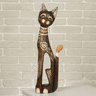 """Сувенир дерево """"Кошка в ошейнике из камней и с расписным цветком"""" 60х12х6 см"""