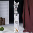 """Сувенир дерево """"Кошка с бабочкой и бантом из мозаики"""" белая 80х13х7 см"""