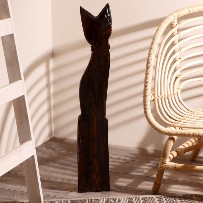 """Сувенир дерево """"Кошка в галстуке из мозаики"""" 80х13х7 см - фото 366868807"""