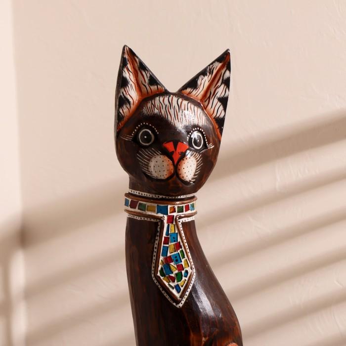 """Сувенир дерево """"Кошка в галстуке из мозаики"""" 80х13х7 см - фото 366868808"""
