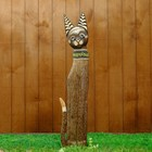 """Сувенир дерево """"Кошка в зелёном ошейнике со стразами"""" 80х13х7 см"""