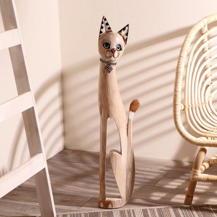 """Сувенир дерево """"Кошка с ошейником из страз и ромбиком"""" 80х13х7 см"""