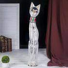"""Сувенир дерево """"Серая кошка в ошейнике из мозаики и с черепахой"""" 80х13х7 см"""