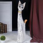 """Сувенир дерево """"Серая кошка в золотом ошейнике с ящерками"""" 80х13х7 см"""