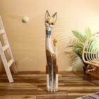 """Сувенир дерево """"Кошка с мозаичными вставками"""" серая 100х16х7 см"""