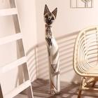 """Сувенир дерево """"Кошка с бабочкой и бантом из мозаики"""" белая 100х16х7 см"""