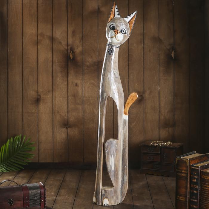 """Сувенир дерево """"Кошка с ошейником из страз и ромбиком"""" 100х16х7 см"""