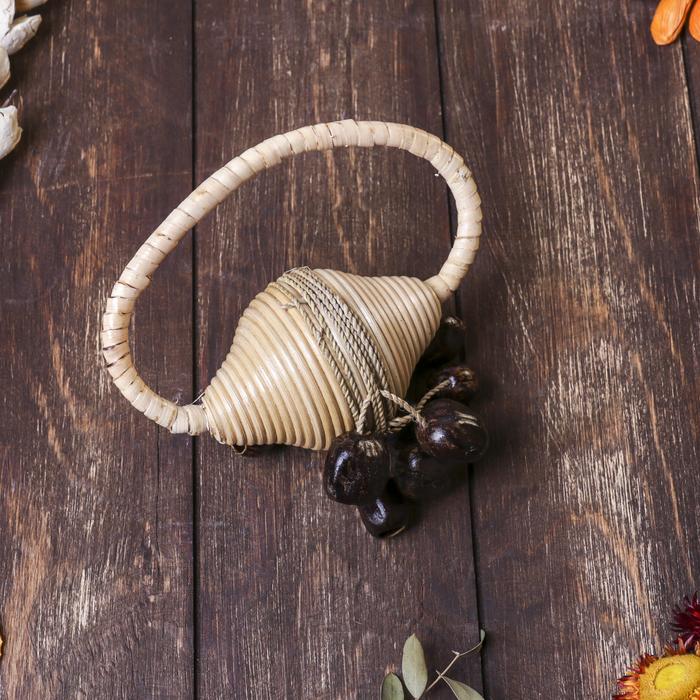 Музыкальный инструмент Маракас из ротанга с семенами кольцо 16х10х12 см