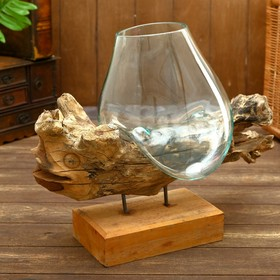 "Вазон стекло на дереве ""Рыбка"" 50х30х25 см"