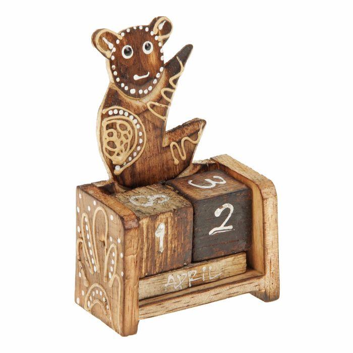 "Деревянный календарь с кубиками ""Мишка"" 12х6х3,5 см"