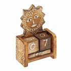 "Деревянный календарь с кубиками ""Солнце"" 12х6х3,5 см"