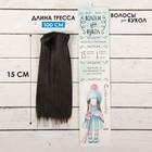 """Волосы - тресс для кукол """"Прямые"""" длина волос 15 см, ширина 100 см, цвет № 4В"""