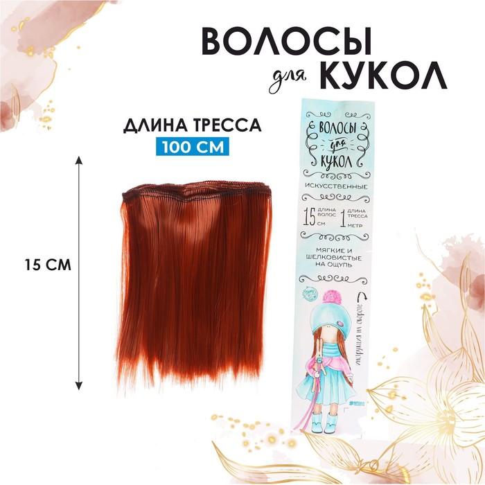 """Волосы - тресс для кукол """"Прямые"""" длина волос 15 см, ширина 100 см, цвет № 13"""