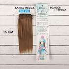"""Волосы - тресс для кукол """"Прямые"""" длина волос 15 см, ширина 100 см, цвет № 18Т"""