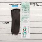 """Волосы - тресс для кукол """"Прямые"""" длина волос 15 см, ширина 100 см, цвет № 3"""