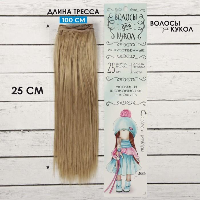 """Волосы - тресс для кукол """"Прямые"""" длина волос 25 см, ширина 100 см, цвет № 16"""