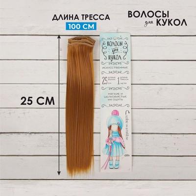 Волосы - тресс для кукол «Прямые» длина волос: 25 см, ширина:100 см, цвет № 27В