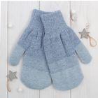 Варежки женские «Мираж 1» 2с229, размер 19, цвет джинс/серый/серо-голубой