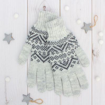 Перчатки женские «Снег» 6с261, размер 19, цвет светло-серый/серый