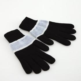 Перчатки мужские «А» 3с239, размер 22, цвет чёрный/светло-серый/голубой Ош