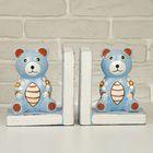 """Подставка-держатель для книг дерево """"Голубые мишки в цветочек"""" набор из 2 шт 16х27х8 см"""