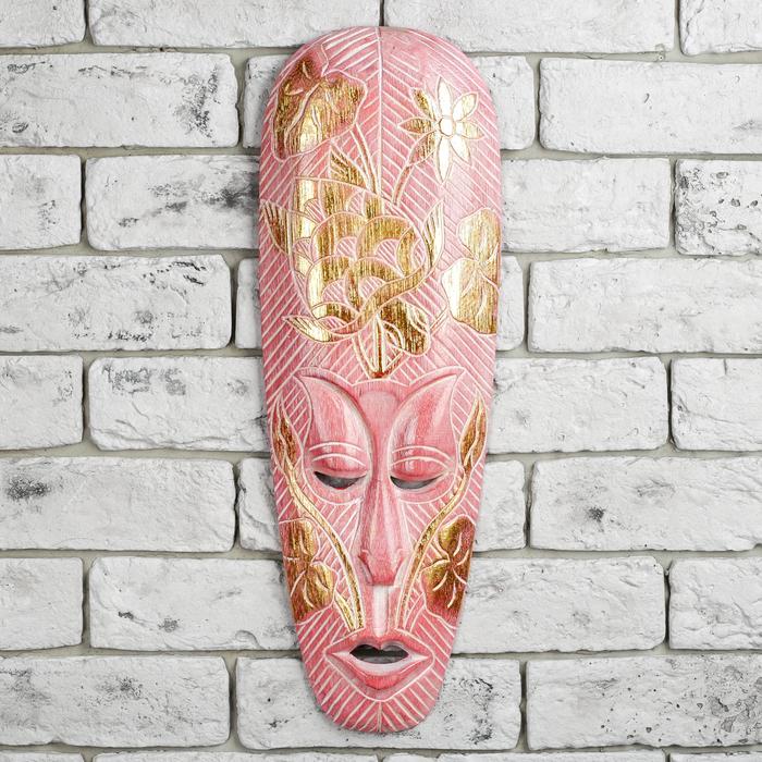"""Маска дерево """"Абориген"""" розовая 50х2,5х16,5 см"""