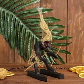 """Сувенир дерево """"Абориген-лыжник"""" 13х12х8 см"""