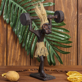 """Сувенир дерево """"Абориген-штангист"""" 7х13х25 см"""