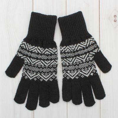 """Перчатки одинарные мужские """"Аскет 1"""", размер 20, цвет чёрный/белый 2с230"""