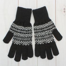 Перчатки одинарные мужские 'Аскет 1', размер 22, цвет чёрный/белый 2с230 Ош