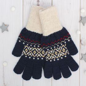 Перчатки одинарные мужские 'Аскет 2', размер 22, цвет тёмно-синий/бежевый 2с230 Ош