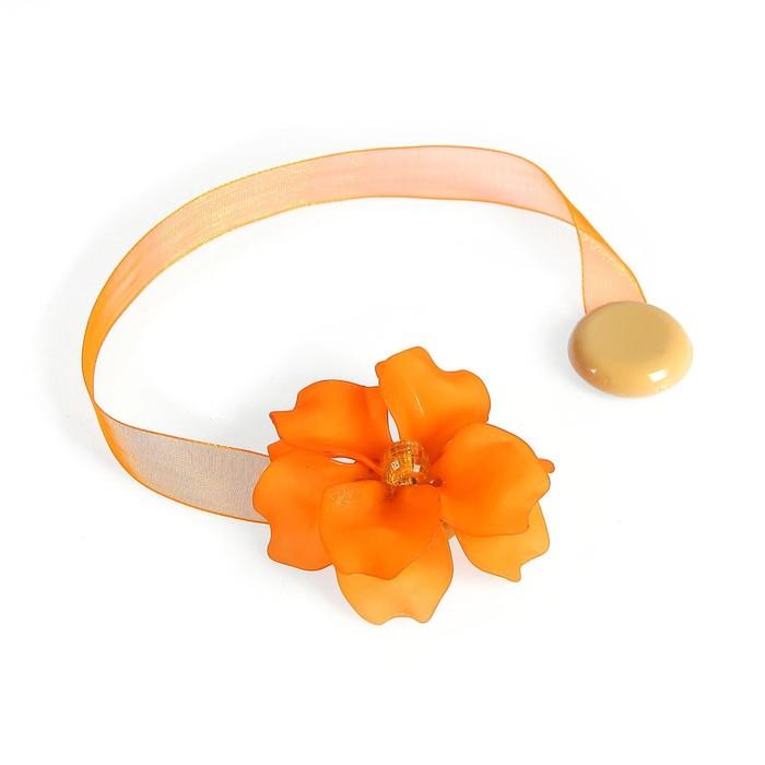 """Подхват для штор на ленте """"Нежный цветок"""", цвет кремово-оранжевый"""