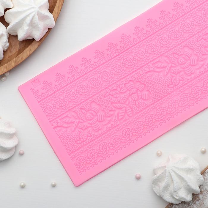"""Коврик для айсинга 35×11 см """"Ажурные цветы"""", цвет розовый"""