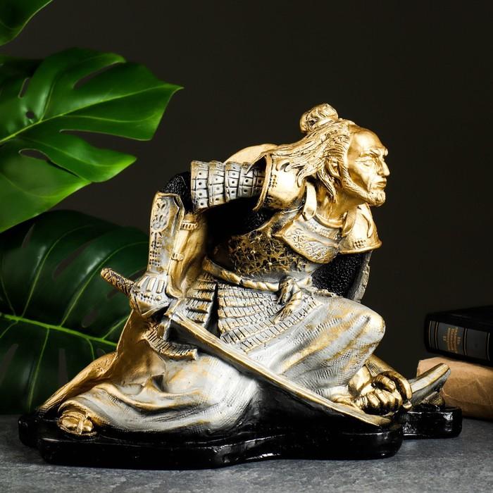 """Фигура """"Самурай"""" бронза-серебро 30х25х24см"""
